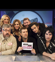 Never Mind The Buzzcocks. Image shows from L to R: Gabby Logan, Phill Jupitus, Roisin Conaty, Rhod Gilbert, Professor Green, Matt Healy, Noel Fielding. Copyright: TalkbackThames / BBC.