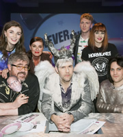 Never Mind The Buzzcocks. Image shows from L to R: Aisling Bea, Phill Jupitus, Lisa Stansfield, Rhod Gilbert, Joe Lycett, Ana Lynch, Noel Fielding. Copyright: TalkbackThames / BBC.