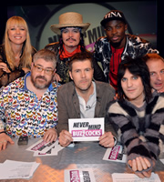 Never Mind The Buzzcocks. Image shows from L to R: Sara Cox, Phill Jupitus, Stuart Goddard, Rhod Gilbert, Nana Abiona, Noel Fielding, Paul Foot. Copyright: TalkbackThames / BBC.