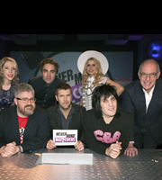 Never Mind The Buzzcocks. Image shows from L to R: Katherine Ryan, Phill Jupitus, Charlie Simpson, Rhod Gilbert, Paloma Faith, Noel Fielding, Loyd Grossman. Copyright: TalkbackThames / BBC.