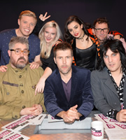 Never Mind The Buzzcocks. Image shows from L to R: Phill Jupitus, Rob Beckett, Grace Chatto, Rhod Gilbert, Charlotte Aitchison, Phil Daniels, Noel Fielding. Copyright: TalkbackThames / BBC.