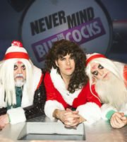 Never Mind The Buzzcocks. Image shows from L to R: Phill Jupitus, Rhod Gilbert, Noel Fielding. Copyright: TalkbackThames / BBC.