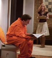 Not Going Out. Image shows from L to R: Lee (Lee Mack), Kate (Megan Dodds). Copyright: Avalon Television / Arlo Productions.