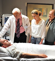 Not Going Out. Image shows from L to R: Lee (Lee Mack), Doctor (Michael Fenton Stevens), Lucy (Sally Bretton), Frank (Bobby Ball). Copyright: Avalon Television / Arlo Productions.