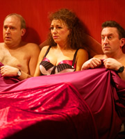 Not Going Out. Image shows from L to R: Tim (Tim Vine), Prostitute (Francesca Marie), Lee (Lee Mack). Copyright: Avalon Television / Arlo Productions.