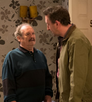Not Going Out. Image shows from L to R: Frank (Bobby Ball), Lee (Lee Mack). Copyright: Avalon Television / Arlo Productions.