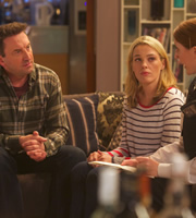 Not Going Out. Image shows from L to R: Lee (Lee Mack), Lucy (Sally Bretton), Police Woman (Clare Warde). Copyright: Avalon Television / Arlo Productions.