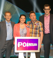 Not Going Out. Image shows from L to R: Alexander Armstrong, Daisy (Katy Wix), Lee (Lee Mack), Richard Osman. Image credit: Avalon Television.