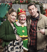 Not Going Out. Image shows from L to R: Lucy (Sally Bretton), Frank (Bobby Ball), Lee (Lee Mack). Copyright: Avalon Television / Arlo Productions.