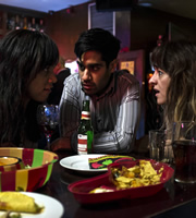 Not Safe For Work. Image shows from L to R: Katherine (Zawe Ashton), Danny (Sacha Dhawan), Angela (Jo Hartley). Image credit: Clerkenwell Films.
