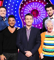 Odd One In. Image shows from L to R: Jason Manford, Peter Andre, Bradley Walsh, Jenny Eclair, Jack Whitehall. Copyright: Zeppotron.