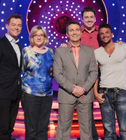 Odd One In. Image shows from L to R: Stephen Mulhern, Sarah Millican, Bradley Walsh, Jason Manford, Peter Andre. Copyright: Zeppotron.