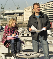 Outnumbered. Image shows from L to R: Karen (Ramona Marquez), Pete (Hugh Dennis). Copyright: Hat Trick Productions.