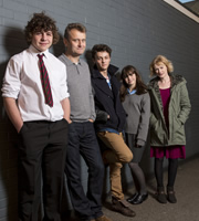 Outnumbered. Image shows from L to R: Ben (Daniel Roche), Pete (Hugh Dennis), Jake (Tyger Drew-Honey), Karen (Ramona Marquez), Sue (Claire Skinner). Copyright: Hat Trick Productions.