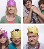 Outnumbered. Image shows from L to R: Sue (Claire Skinner), Karen (Ramona Marquez), Ben (Daniel Roche), Jake (Tyger Drew-Honey), Pete (Hugh Dennis). Copyright: Hat Trick Productions.