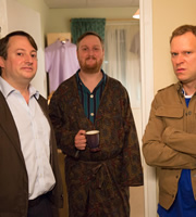 Peep Show. Image shows from L to R: Mark Corrigan (David Mitchell), Jerry (Tim Key), Jeremy Usbourne (Robert Webb). Copyright: Objective Productions.