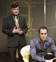 PhoneShop. Image shows from L to R: Christopher (Tom Bennett), Ashley (Andrew Brooke). Image credit: Talkback.