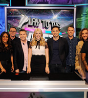 Play To The Whistle. Image shows from L to R: Alex Scott, Sean Lock, Bradley Walsh, Holly Willoughby, Frank Lampard, Graeme Swann, Seann Walsh. Copyright: Hungry Bear Media.