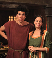 Plebs. Image shows from L to R: Stylax (Joel Fry), Irina (Anna Skellern). Copyright: RISE Films.