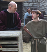 Plebs. Image shows from L to R: Brother Quintus (Alex Macqueen), Grumio (Ryan Sampson). Image credit: RISE Films.