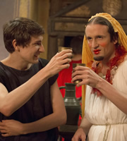 Plebs. Image shows from L to R: Marcus (Tom Rosenthal), Aurelius (Tom Basden). Copyright: RISE Films.