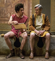 Plebs. Image shows from L to R: Stylax (Joel Fry), Gaius Maecenas (James Fleet). Copyright: RISE Films.