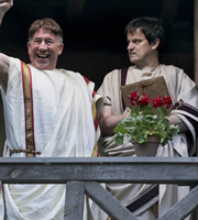 Plebs. Image shows from L to R: Victor (Simon Callow), Philo (Tony Gardner). Copyright: RISE Films.