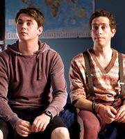 Pramface. Image shows from L to R: Jamie Prince (Sean Michael Verey), Mike Fenton (Dylan Edwards). Copyright: BBC / Little Comet.