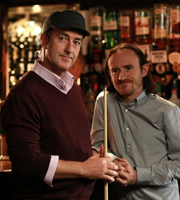 Pramface. Image shows from L to R: Alan Derbyshire (Angus Deayton), Keith Prince (Ben Crompton). Copyright: BBC / Little Comet.