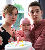 Pramface. Image shows from L to R: Laura Derbyshire (Scarlett Alice Johnson), Jamie Prince (Sean Michael Verey). Copyright: BBC / Little Comet.