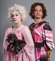 Psychobitches. Image shows from L to R: Barbara Cartland (Frances Barber), Fanny Craddock (Seb Cardinal). Copyright: Tiger Aspect Productions.