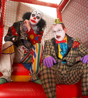Psychoville. Image shows from L to R: Mr Jelly (Reece Shearsmith), Mr Jolly (Adrian Scarborough). Copyright: BBC.