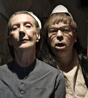 Psychoville. Image shows from L to R: Nurse Kenchington (Eileen Atkins), David Sowerbutts (Steve Pemberton). Copyright: BBC.