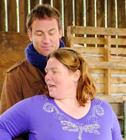 Puppy Love. Image shows from L to R: Alexander (Tobias Menzies), Nana V (Joanna Scanlan). Copyright: BBC / Woof Productions.