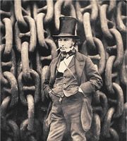 Isambard Kingdom Brunel against the launching chains of the Great Eastern at Millwall in 1857.