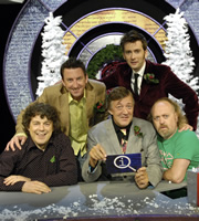 QI. Image shows from L to R: Alan Davies, Lee Mack, Stephen Fry, David Tennant, Bill Bailey. Copyright: TalkbackThames.