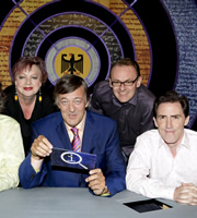 QI. Image shows from L to R: Jo Brand, Stephen Fry, Sean Lock, Rob Brydon. Copyright: TalkbackThames.
