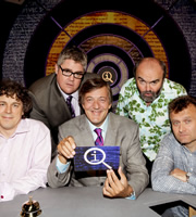 QI. Image shows from L to R: Alan Davies, Phill Jupitus, Stephen Fry, Andy Hamilton, Hugh Dennis. Copyright: TalkbackThames.