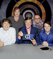 QI. Image shows from L to R: Alan Davies, Jo Brand, Stephen Fry, Sean Lock, David Mitchell. Image credit: TalkbackThames.