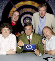 QI. Image shows from L to R: Alan Davies, Danny Baker, Stephen Fry, Jeremy Clarkson, Bill Bailey. Image credit: TalkbackThames.
