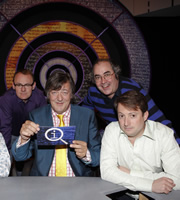 QI. Image shows from L to R: Sean Lock, Stephen Fry, Danny Baker, David Mitchell. Copyright: TalkbackThames.