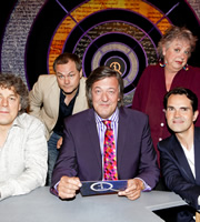 QI. Image shows from L to R: Alan Davies, Jack Dee, Stephen Fry, Jo Brand, Jimmy Carr. Copyright: TalkbackThames.