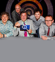 QI. Image shows from L to R: Alan Davies, Dara O Briain, Stephen Fry, Chris Addison, Sean Lock. Copyright: TalkbackThames.