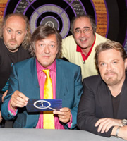 QI. Image shows from L to R: Bill Bailey, Stephen Fry, Danny Baker, Eddie Izzard. Copyright: TalkbackThames.