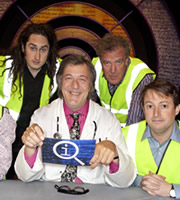 QI. Image shows from L to R: Ross Noble, Stephen Fry, Jeremy Clarkson, David Mitchell. Copyright: TalkbackThames.