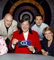 QI. Image shows from L to R: Dara O Briain, Stephen Fry, Jimmy Carr, Clare Balding. Copyright: TalkbackThames.