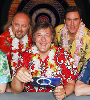 QI. Image shows from L to R: Bill Bailey, Stephen Fry, Rob Brydon. Copyright: TalkbackThames.