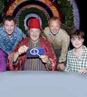 QI. Image shows from L to R: Lee Mack, Stephen Fry, Graham Norton, Daniel Radcliffe. Copyright: TalkbackThames.