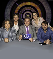 QI. Image shows from L to R: Alan Davies, Katy Brand, Stephen Fry, Sue Perkins, David Mitchell. Copyright: TalkbackThames.