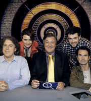 QI. Image shows from L to R: Alan Davies, Cal Wilson, Stephen Fry, Jack Whitehall, Jimmy Carr. Copyright: TalkbackThames.